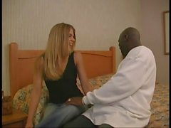 Randy blond babe banged by black dude