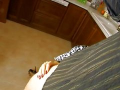 Spanish milf in the kitchen gets DP'ed by a dick and a cucumber