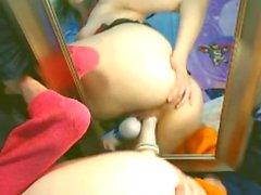 Teen BabyZelda riding toy on mirror