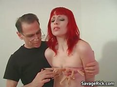 Kinky redhead babe is sex toy to a kinky part1