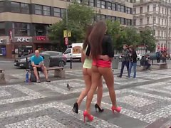 2 sexy kinky girls bottomless flashing public nude in town