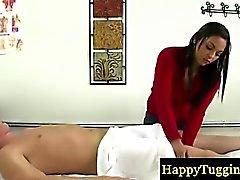 Real asian masseuse jerking dick