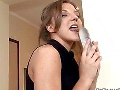 Sexy brunette babe gets horny sucking part6