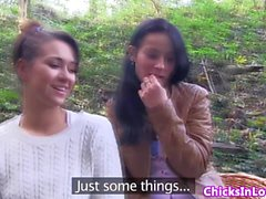 Euro lesbian girlfriends outdoors kissing