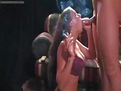 Rachel Starrs smokes a cigarette and a hard cock at the same time