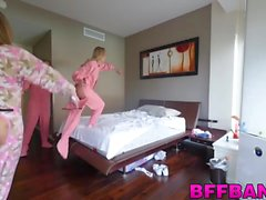 Two cute and horny cicks fucked at the slumber party