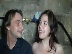 Youn swinger Daphne sucks and fucks in a basement