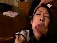 Sensuous Asian wife deepthroats a long rod and then gets po
