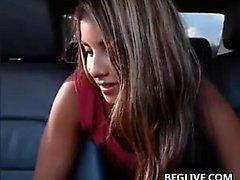 Horny Latina Masturbates In The Car