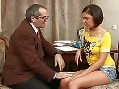 Hottie is giving mature teacher a blowjob session