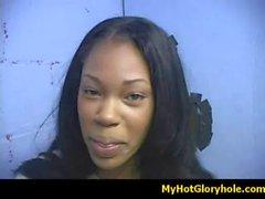 Initiating black girl in the art of interracial gloryhole blowjob 5
