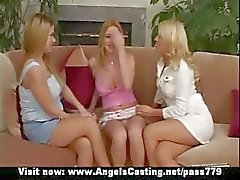 Amateur amazing three blonde lesbians undressing and kissing on the couch
