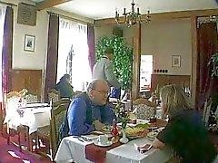 German Bitch fucked in Public Restaurant