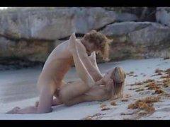 Extreme art sex of fine couple on beach