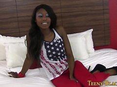 Ebony teen in heels fucks
