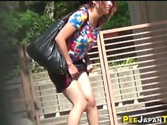 Asian teen public pees