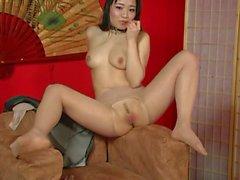 Asian harlot in nylons solo masturbation