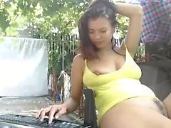 Lilah ingenious brunette toying outdoor