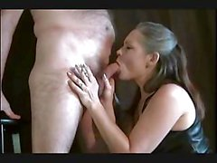 Sexy mature female always smokes her cigarette while giving blowjob