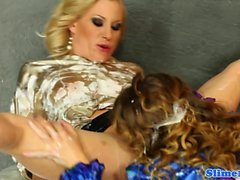 Euro lesbos horny at the gloryhole