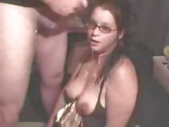 Busty little brunette is giving this dude nice head with a cumshot