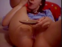bating brunette eats her own goo