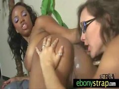 Interracial lesbian hotties fucking with strapon 30