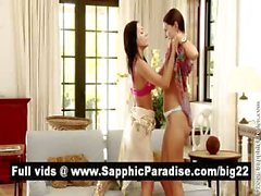 Hot brunette lesbos kissing and getting naked and having lesbo sex