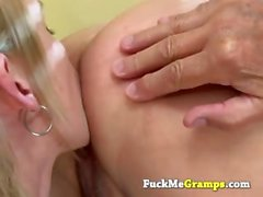 Blond with small tits pleasing old man