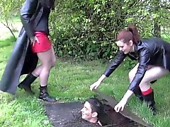 Gothic bdsm bitches get boots licked clean
