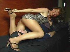 Lazy bitch rests and farts on slave FEMRACE