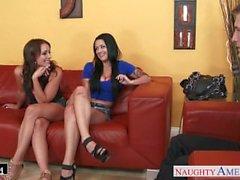 Gorgeous brunetet Katrina Jaden ja Kayla länsi osaketta cock