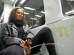 German slut takes a piss on a train