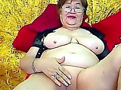 Abuela que Fat Con Gafas se masturba