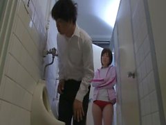 Japanese students get hot and horny in the school bathroom