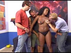 Busty ebony boss fucks her workers