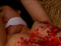 Submissive Japanese babe getting her amazing body covered i