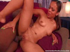 Awesome ebony rides massive cock