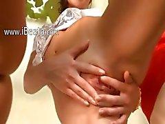 Three lezzie snatches fingering