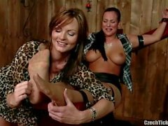 Busty lady restrained and tickled