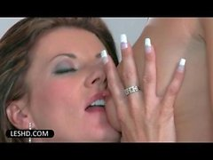 Lustful lesbo seductresses stripping and making out