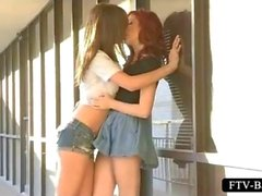 Erotic lesbian scene with two hotties making out