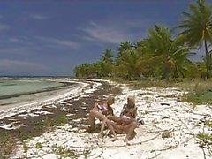 Pornstar Tarra White enjoying an awesome threesome fuck by the beach