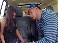 Slutty gal Hope Howell fucked in the car