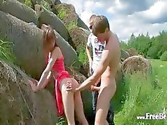 hot double fuck outside with teen