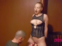 GothSlut Cums Multiple Times While Handcuffed to a Pole and DeepThroated