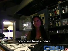 Czech Babe gives blowjob before taking a pounding in public bar