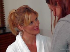 Redhead in jeans Karlie Montana gets seduced by Kate Kastle