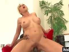 Big black cock stretches a shaved pussy