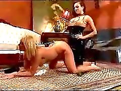 Blonde Slave Hook In Her Ass Spanked With Stick Pussy Stimulated With Vibrator By Mistress In The Room